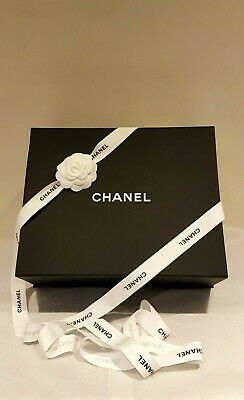 CHANEL Large magnetic box with Camellia Tie Ribbon tissue paper brochures