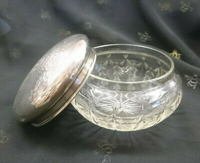 Beautiful Antique /Vintage Hallmarked Silver Topped Pot - Chester 1923 -Art Deco
