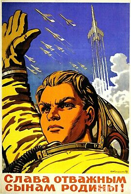 Vintage Russian Propaganda Poster Soviet Space Race Retro USSR Art Print A3 A4