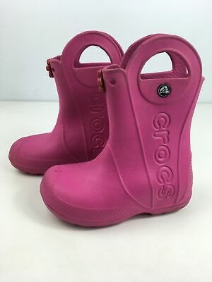 Girls Crocs Pink Rubber Flower Pull On Wellies Wellington Boots Shoes Uk 11 Kids