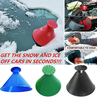 Magical Car Remover Scraper Windshield Ice Snow Cone Shaped Tool Round Funnel 1x