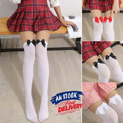 Ladies Thigh Oktoberfest Maid with Bow Beer White High Stockings Wench Tights