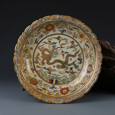 """Old Chinese Chenghua marked doucai Porcelain Hand painted gilt dragon plate 5.1"""""""