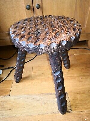 Solid Wood Carved Milking Stool