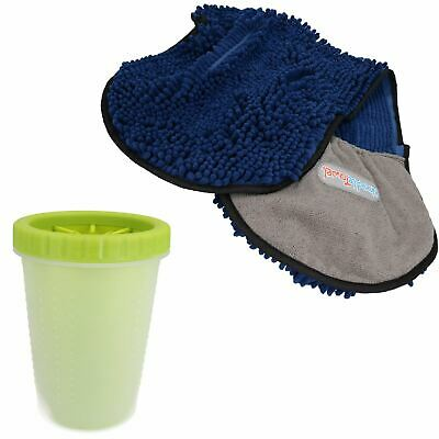 "MED Green Paw Cleaner  For Dogs - Paw Size upto 2.5"" & Blue Microfiber Towel"