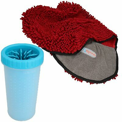 "Large Blue Paw Cleaner  For Dogs - Paw Size upto 3.5"" & Red Microfiber Towel"