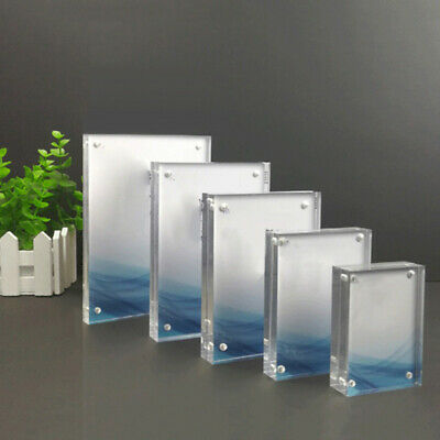 Small Freestanding Polished Clear Acrylic Magnetic Picture Photo Frame Decor