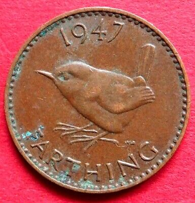 Great Britain Scarce King George Vi 1947 Wren Farthing Coin Birthday - Date Gift