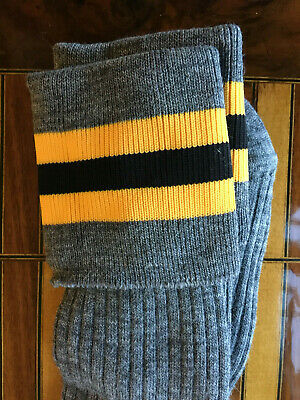 ADULT Shoe Size 7-11 Grey with Yellow/Black/Yellow Trim School TOT Knee Socks