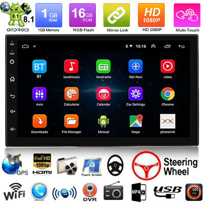 Double 2DIN 7'' Android 8.1 16G Car Stereo GPS Navi MP5 Player Bluetooth WIFI FM