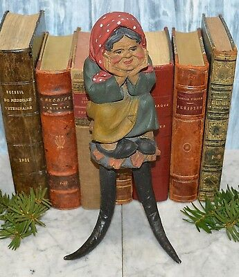 Antique Black Forest Chamois Horns Hook Figural Grandmother Carved Wood Folk Art