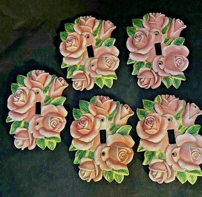 Vintage Shabby Chic  Roses & Leaves Single Toggle Light Switch Plate Covers (5)