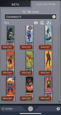 Topps Marvel Collect Card Trader Corner Box Series 1 Complete 9 Card Set Digital