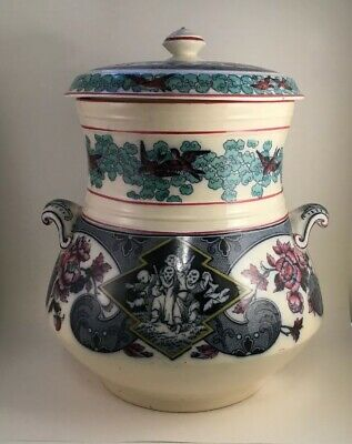 Large Brownfield & sons Polychrom Transferware Covered Jar / Pot