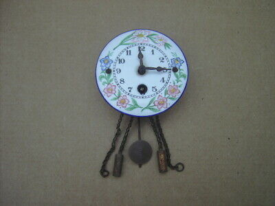 Antique Miniature Jockele Clock,  Black Forest,  Porcelain Dial.