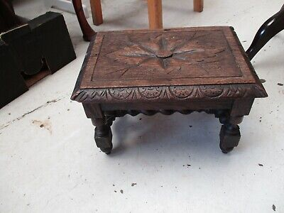Oak Carved Stool / Foot Rest