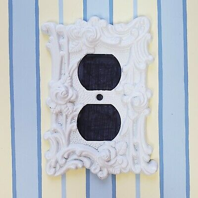 Light Switch Outlet Plug Cover White Shabby Chic Roses Vintage 1960s