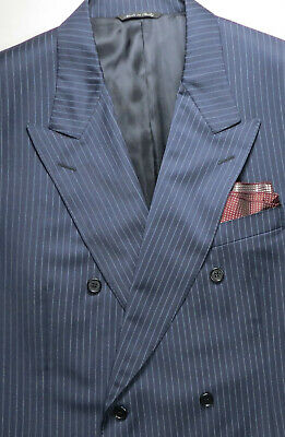 Canali Mens Suit Jacket Blazer 48 L Wool Dbl-Breasted Classic Striped Italy Chic