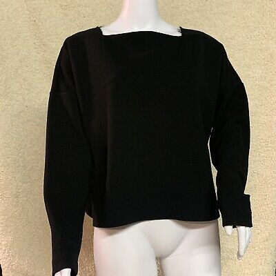 Zara WB Collection Top Ribbed Knit Long Sleeve Black Cotton Pullover size Medium