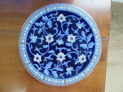 """Retired Peggy Karr Fused Glass Persian Blues 11"""" Plate Blue White"""