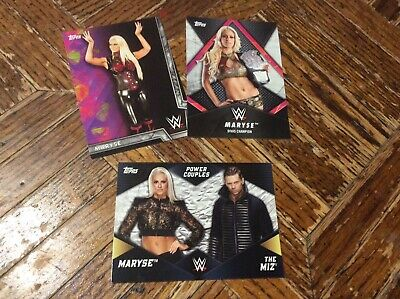 Maryse 3 card lot from 2018 WWE Topps Women's Division Set Champion insert