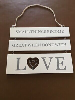 Shabby Chic Room Sign Hanging White Wooden Love