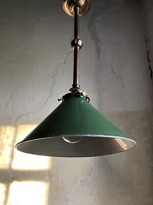 Antique French Ceiling Light Enamelled Shade. c1920