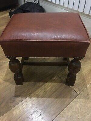 Antique Cromwellian Oak Stool with Leather Seat H-14""