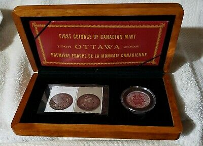 2008 Canada 50 Cent Coin & Stamp Set - 100th Anniversary of the Mint - Orig Pkg