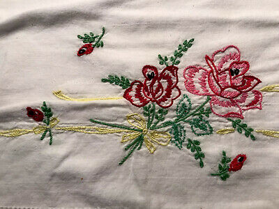 Cross stitch Crewel Pillowcase Handmade VTG Rose Pink Red Ribbon Floral cotton