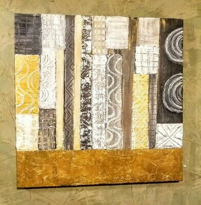 Gold Leaf Gold Foil Textured Abstract painting on Canvas 20 x 20 in.Earth Tones