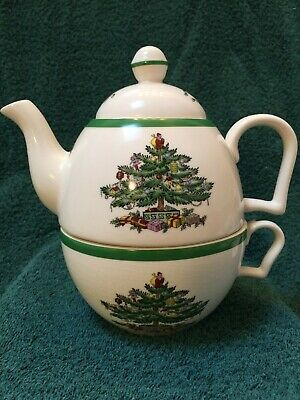 Spode Christmas Tree 3 Piece Teapot With Lid and Cup Stackable TEA for ONE
