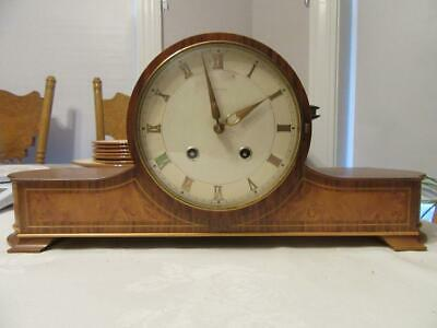 Vintage Junghans Wooden Mantle Clock Great Detail