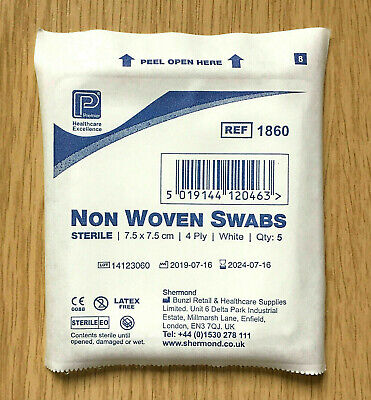 Premier Sterile Non Woven Medical Gauze Swabs 5cm, 7.5cm, 10cm First Aid