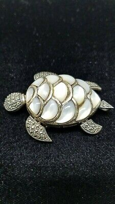TURTLE BROOCH SILVER Marcasite Mother of Pearl tortoise Pendant/ 925 sterling - $79.99 | PicClick