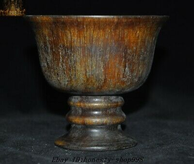 Collect Old Chinese Ox horn carving Wine vessel goblet wineglass cup statue
