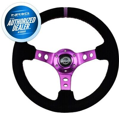 NEW NRG Deep Dish Steering Wheel 350mm Suede Purple Stitch and Mark RST-006S-PP