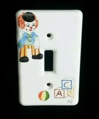 Vintage Single Light Switch Plate Cover Ceramic Hand Painted Circus Clown Childs