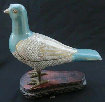Antique Chinese Cloisonne Enamel Pigeon Quail Bird Figurine Carved Wooden Stand