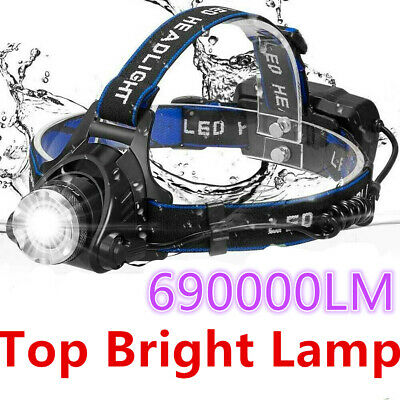 690000Lumen T6 LED Zoomable Headlamp USB Rechargeable 18650 Headlight Head Torch