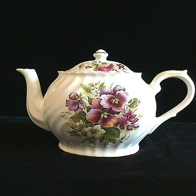 Vintage PRICE KENSINGTON Tea Pot Porcelian White Swirl Violets Cabbage Rose 5021