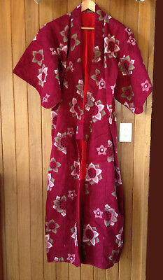 Rare vintage japanese cotton kimono, floral pattern, fully lined, hand stiched