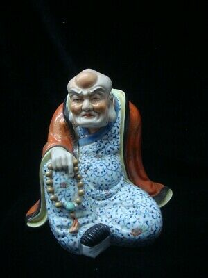 "Rare Chinese Old Hand Painting Porcelain Arhat Buddha Statue ""YouChangZi"""