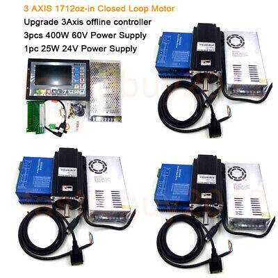 3 Aixs 1712oz-in Closed Loop CNC Stepper Motor NEMA34 12Nm & Offline Controller