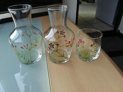 Hand-painted Floral Design Clear Glass Vases X 3
