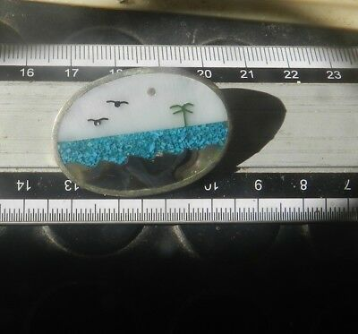 Estate Vintage Sterling Silver Brooch Turquoise -Mexico Native- 925 -2 post FREE