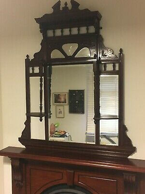 Victorian timber overmantle mirror