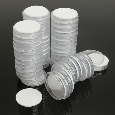 19 24 29 34mm Coins 50Pcs Capsules Coin Holders Case Plastic Storage Adjustable