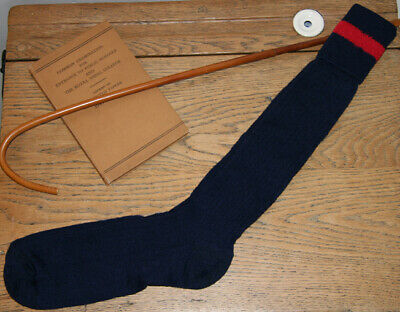 ADULT Sz 7-8 Vintage 80% Wool Navy Blue with Red Trim Band School Knee Socks