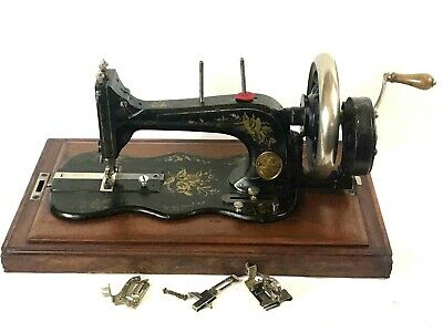 19c Antique Frister & Rossmann's Fiddle Base Hand Crank Sewing Machine [5693]